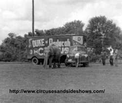 Duke of Paducah Circus, sideshow truck 1960