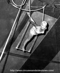 Joanne Day on the single trapeze. Duke of Paducah Circus 1960.