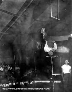 Johnny Jessick,head balancing act, Duke of Paducah Circus 1960