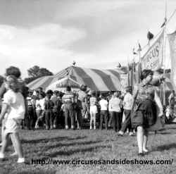 Midway crowd, Duke of Paducah Circus 1960