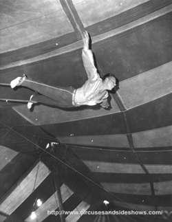 John Friday on the single trapeze. Duke of Paducah Circus 1960