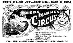 Beers and Barnes Circus ad