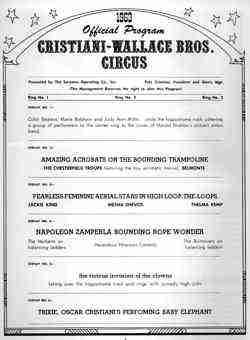 Cristiani Wallace Circus Program 1