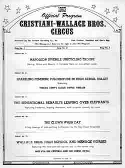 Cristiani Wallace Circus Program 2