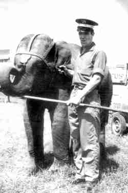 Fred Logan and young elephant