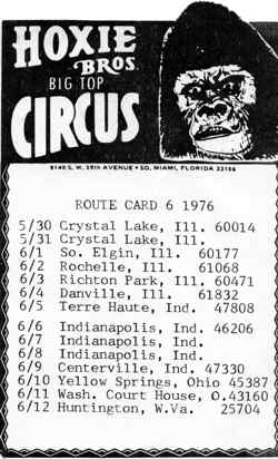 Hoxie Bros Circus Route Card 1976