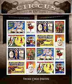United States Postal Service Commemorative Circus Poster Stamps