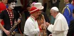 Pope Francis thanks circus performers for bringing joy to often dark world.