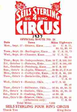 Seils-Sterling Circus route card