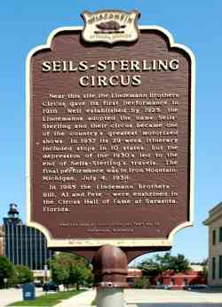 Seils-Sterling Circus The Lindemann Brothers plaque